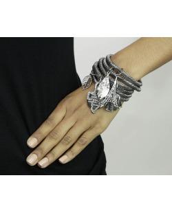 Kit 6 pulseiras de metal grafite Uyuni