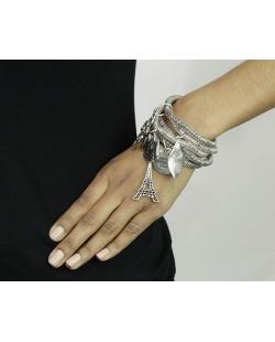 Kit 6 pulseiras de metal prateado Uyuni