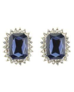 Brinco pequeno de metal dourado com strass cristal e azul Bolívar