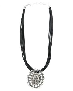 Colar de couro preto com medalha prateada e strass cristal Lemu