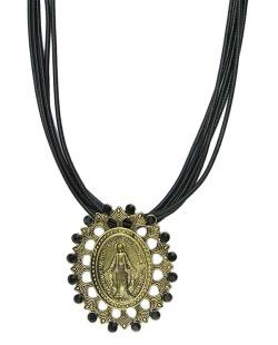 Colar de couro preto com medalha dourada e strass preto Lemu