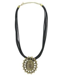Colar de couro preto com medalha dourada e strass licor Lemu