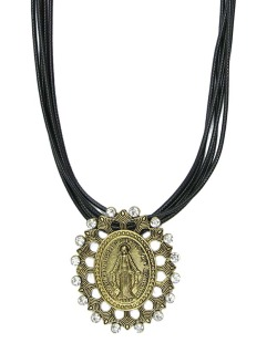 Colar de couro preto com medalha dourada e strass cristal Lemu