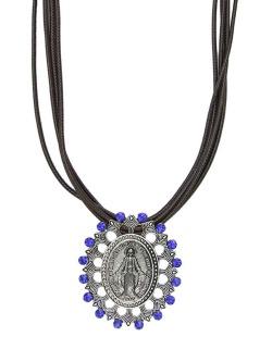 Colar de couro marrom com medalha grafite e strass azul Lemu