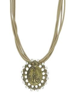 Colar de couro marrom com medalha dourada e strass cristal Lemu