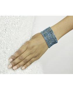 Kit 10 pulseiras de metal com strass furta-cor azul Octay