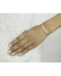 Pulseira de metal dourada com strass cristal Pailon