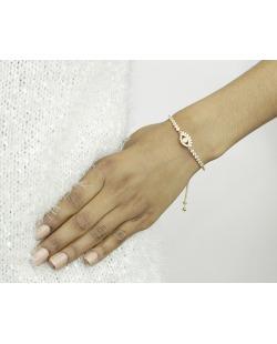 Pulseira de metal dourada com strass cristal Pulhan