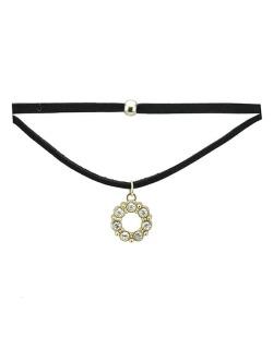Gargantilha choker preta e dourado com strass cristal Areguá
