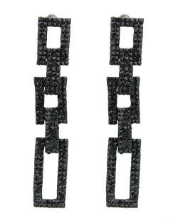 Maxi brinco de metal preto com strass preto Pastaza