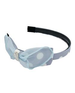 Tiara infantil azul com laço e strass cristal Docinho