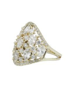 Anel de metal dourado com strass cristal Bartica