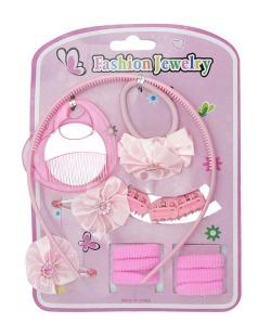 Kit infantil 7 rabicós + 1 mini pente/espelho + 3 mini piranhas + 2 tic tacs rosa Rose