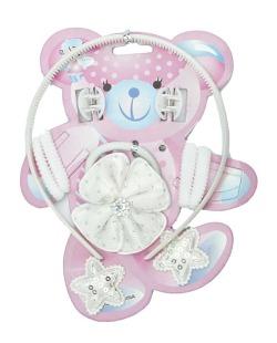 Kit infantil 7 rabicós + 1 tiara + 2 mini piranhas brancas Ituni