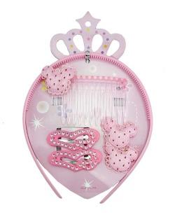 Kit infantil 1 presilha + 1 tiara + 2 tic tacs rosa Mahai