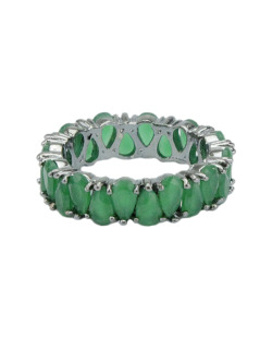 Anel de metal grafite com strass verde Albina