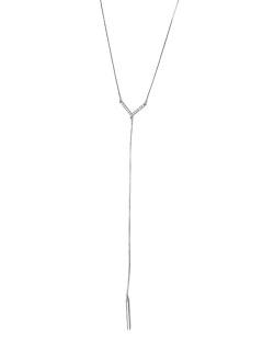 Colar de metal folheado prateado com strass cristal Maribo