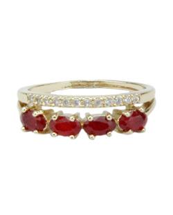Anel de metal dourado com strass vermelho Ame