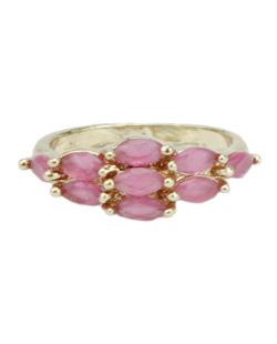 Anel de metal dourado com strass rosa Friendship