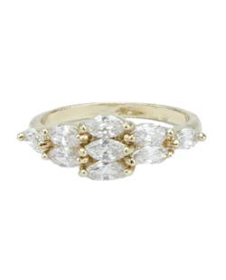 Anel de metal dourado com strass cristal Friendship