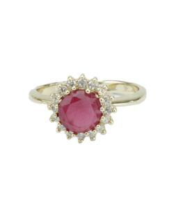 Anel de metal dourado  com strass rosa Fobaka