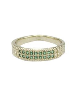 Anel de metal dourado com strass verde French