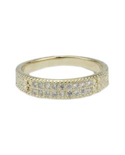 Anel de metal dourado com strass cristal French