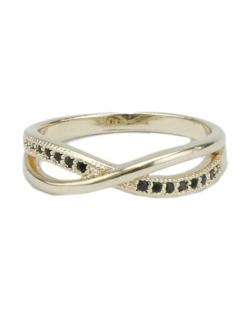Anel de metal dourado com strass preto Liberia