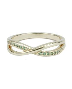 Anel de metal dourado com strass verde Liberia