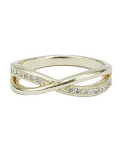 Anel de metal dourado com strass cristal Liberia