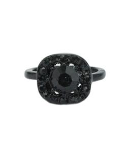 Anel de falange preto e strass preto Wasa