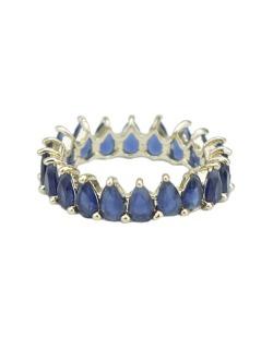 Anel de metal dourado com strass azul Jiménez