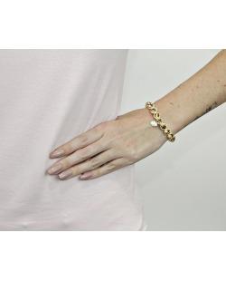 Pulseira de metal dourada com strass de swarovski caramelo Paula Negrão