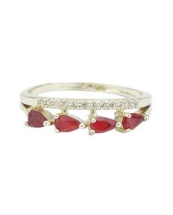 Anel de metal dourado com strass vermelho Uvita