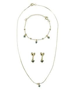 Kit pulseira + colar + brinco de metal dourado com pedra turquesa Anitta