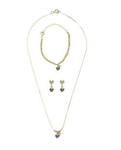 Kit pulseira + colar + brinco de metal dourado com pedra roxa Millena