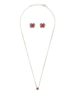 Kit brinco + colar de metal dourado com pedra rosa pink Huaon