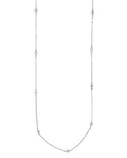 Colar de metal prateado folheado com strass cristal Omsk
