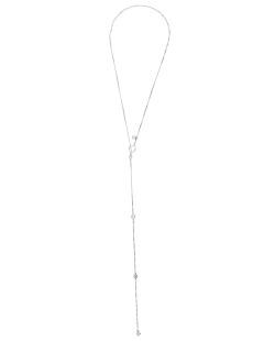 Colar de metal prateado folheado com pedra cristal Kursk