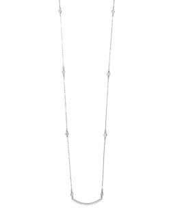 Colar de metal prateado folheado com strass cristal Penza