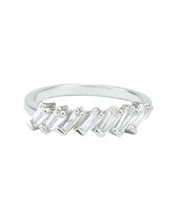 Anel de metal prateado com strass cristal Oriente