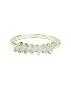 Anel de metal dourado com strass verde claro Oriente