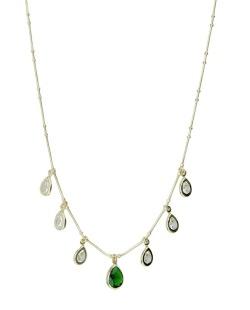 Colar de metal folheado dourado com strass cristal e verde Tisma