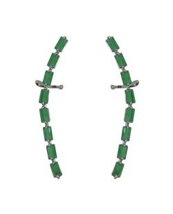 Ear cuff de metal grafite com strass verde Coxen