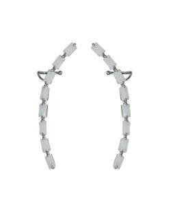 Ear cuff de metal grafite com strass branco Coxen