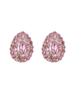 Brinco pequeno em gota dourado com pedra rosa e strass rosa claro Romã