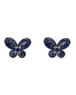 Brinco pequeno de metal prateado com strass azul Butterfly