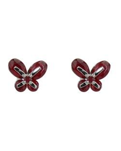Brinco pequeno de metal prateado com strass vermelho Butterfly