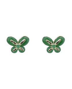 Brinco pequeno de metal dourado com strass verde Butterfly