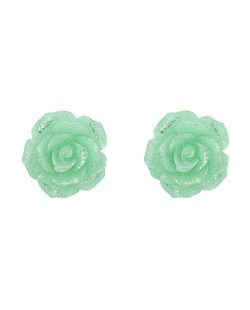 Brinco pequeno de acrílico verde Roses